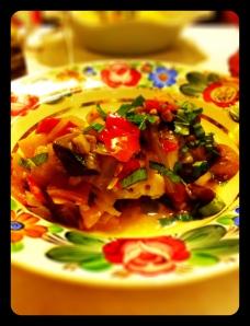Petto di pollo e caponatina siciliana in agrodolce